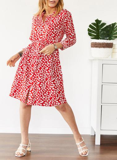 XHAN Desenli Gömlek Yaka Elbise 0Yxk6-43566-04 Kırmızı